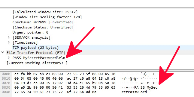Network packet trace with clear text password