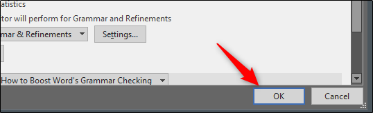 select ok at word options window