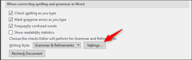 settings for spelling and grammar checker