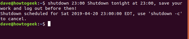shutdown 23:00 with message