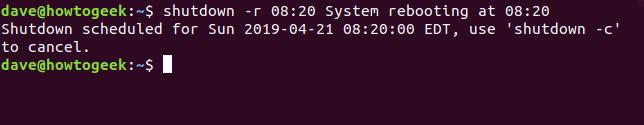 shutdown scheduling a reboot
