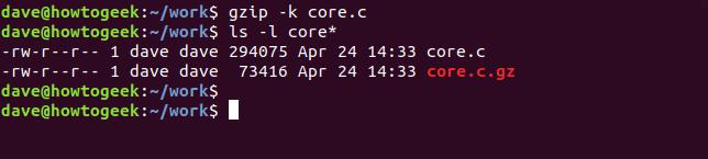 gzip command in a terminal window