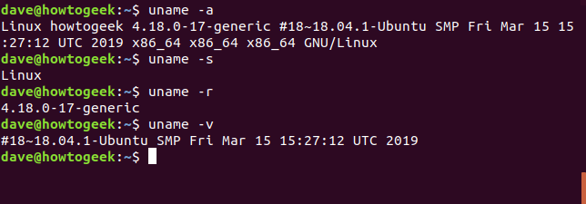 uname command in a terminal window