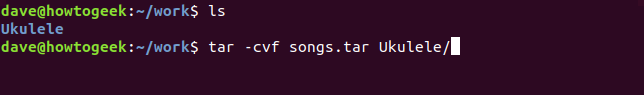 tar -cvf command in a terminal window