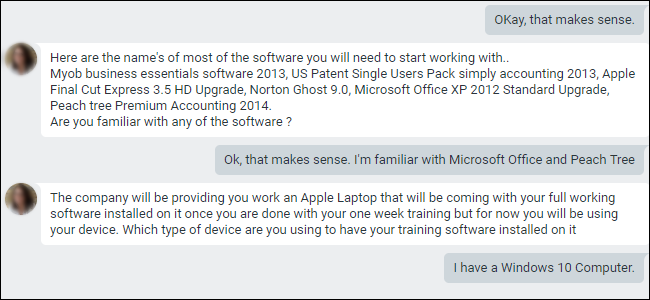 Google Hangouts chat describing apps required for training.