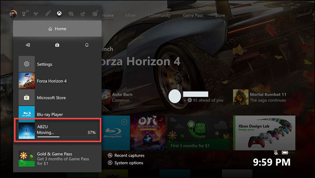 Xbox one home submenu with callout around Abzu game in transfer.