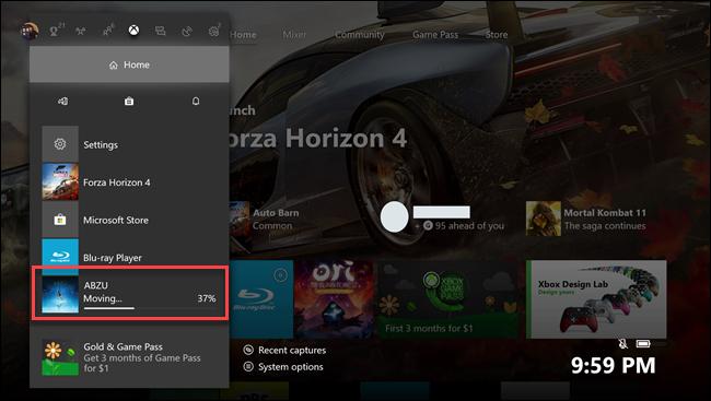 Submenú de inicio de Xbox One con rótulos sobre el juego Abzu en transferencia.