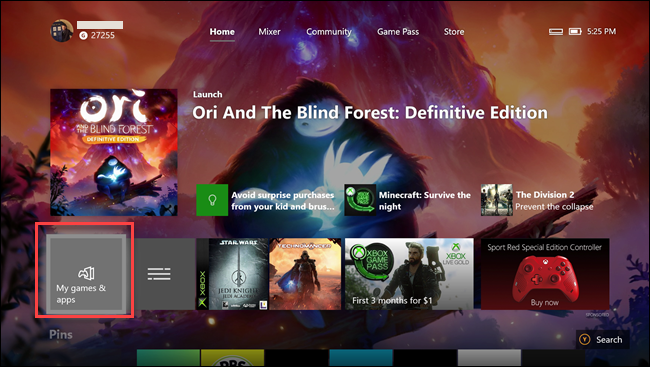 Xbox one app with box around My games & apps option.