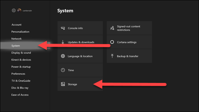 Xbox settings menus with arrows pointing to system and storage options.