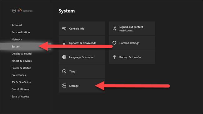 Menús de configuración de Xbox con flechas que apuntan al sistema y las opciones de almacenamiento.