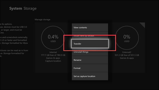 System storage submenu with call out on transfer option.
