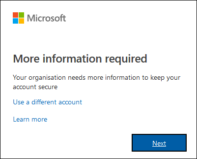 The start of the O365 login process