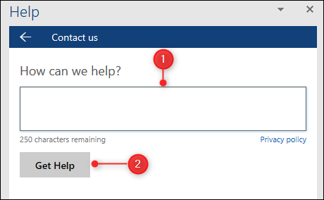 The Help field and button