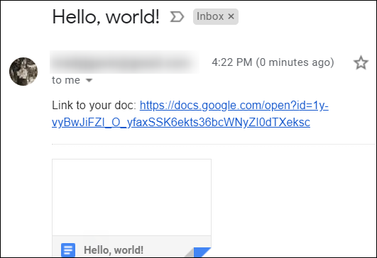 The email notification sent automatically by the script contains a link to the new document