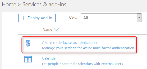 "The ""Azure multi-factor authentication"" option"