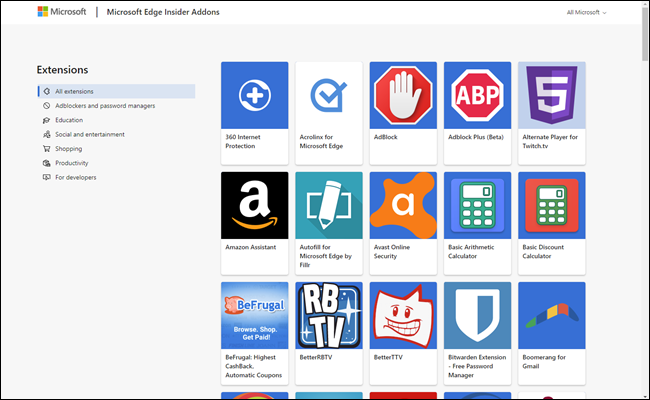 The new extensions tab showing extensions you can install.