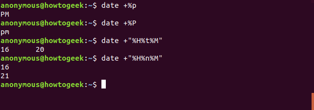 Output of the date command with AM PM indicator and formatting options