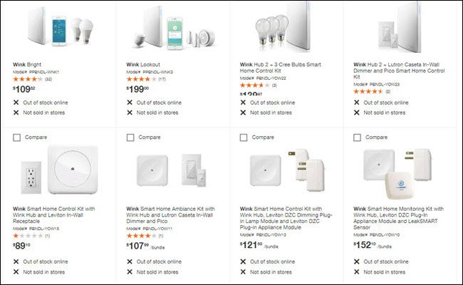 Home Depot site showing every Wink product out of stock online and not sold in stores.