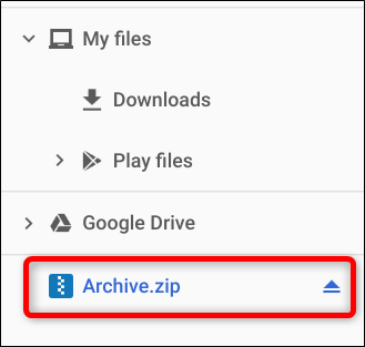 Notice on the left side of the app, the ZIP file has been mounted like an external drive