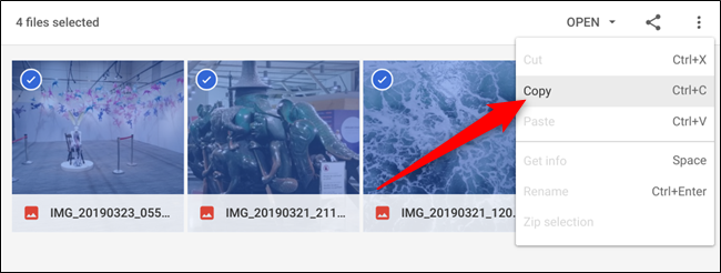 Highlight the files you want to move from the ZIP file, right-click, then click Copy from the context menu that appears