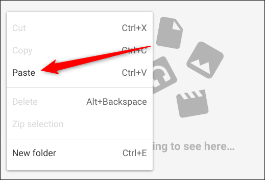 Navigate to a folder where you want to store these files on your Chromebook via the Files app, right-click, then click Paste from the context menu
