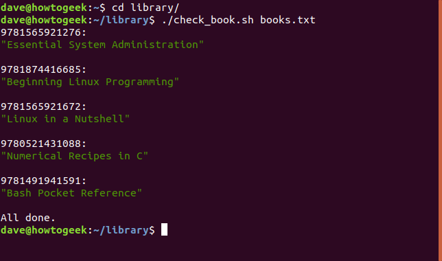 Output of the check_book.sh shell script