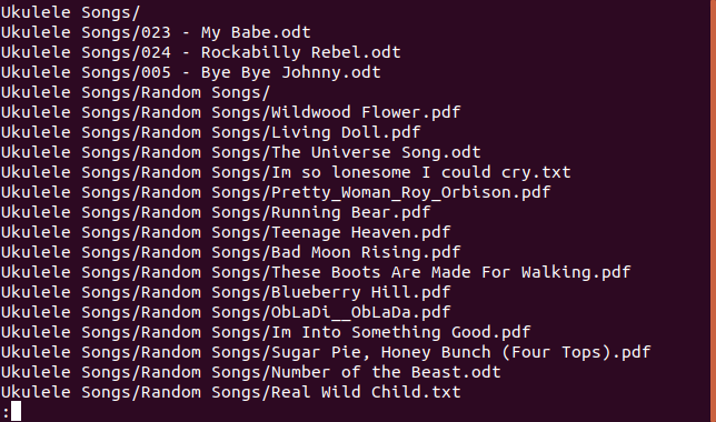 Contents of tar file piped through less