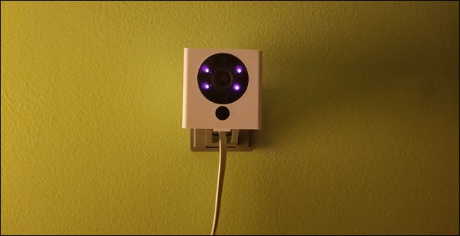 Wyze camera with infrared lights showing.