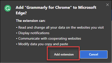 Add extension confirmation dialog with box around add extension button.
