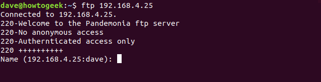ftp connection command in a terminal window