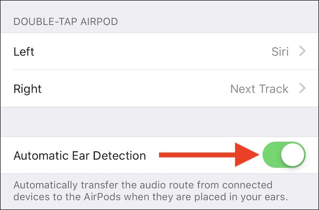 Toggle automatic ear detection off