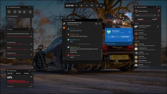New game bar featuring Xbox social widget
