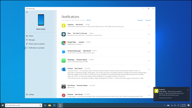 Windows 10 Your Phone app showing Android notifications