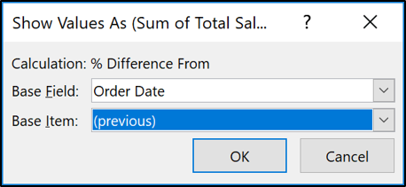 Select Previous as the base item to compare to