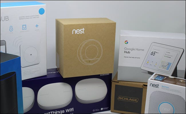 A nest thermostat, wink, Google Home hub, Eero, Echo, and Schlage lock.