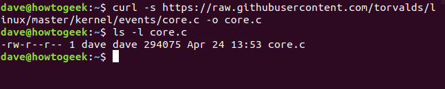 curl in a terminal window