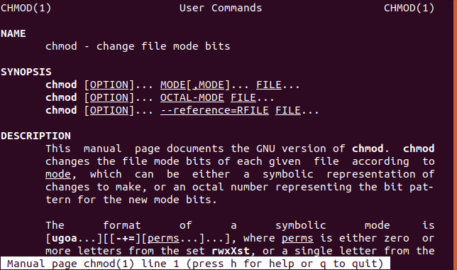 man command in a terminal window