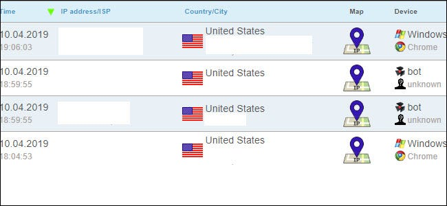 ip logger tracking results, showing several United States pings.