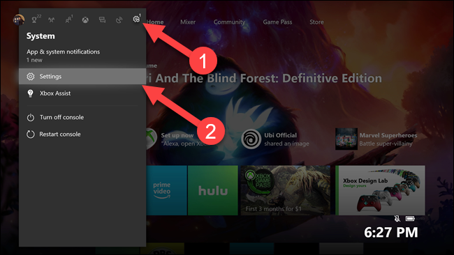 Xbox submenu with arrows pointing to settings gear and settings option.