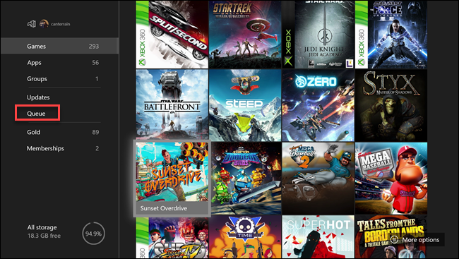 Xbox my games & apps menu with box around Queue option.