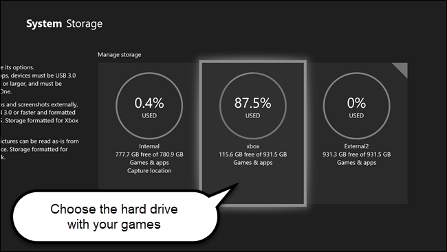 Xbox system storage menu with call out on hard drive that contains games.