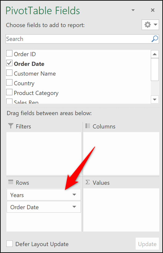 Years and Order Date fields in Rows