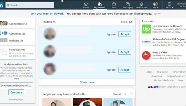 LinkedIn invites page, showing 109 invites.