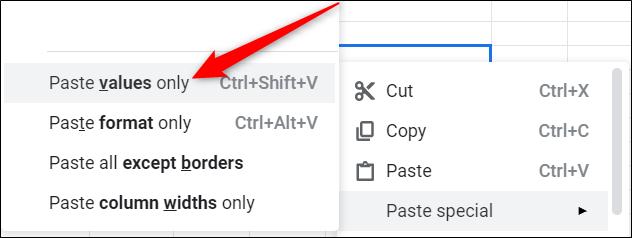 Si copia y pega la información nuevamente en una hoja de Google, asegúrese de hacer clic con el botón derecho y, a continuación, seleccione Pegado especial> Pegar solo valores