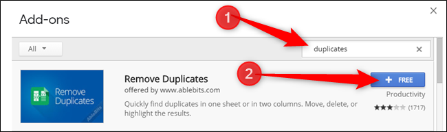 Type Duplicates into the search bar, then click Free on the add-on you want to install
