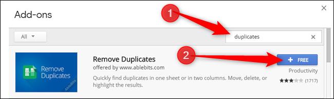 Escriba Duplicados en la barra de búsqueda, luego haga clic en Gratis en el complemento que desea instalar