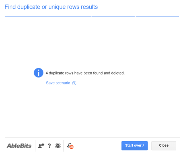 The results page showing how many entries were found in your document