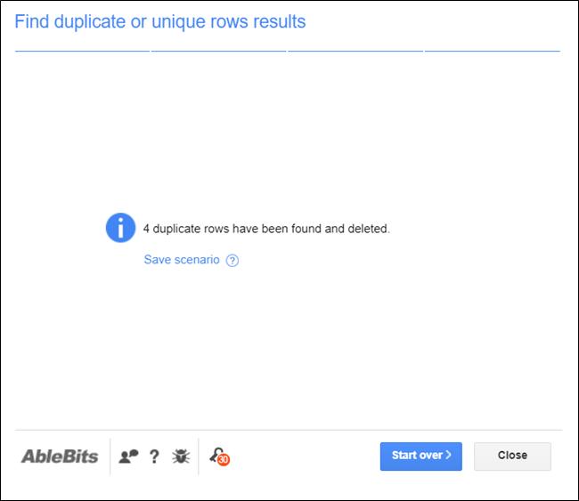 La página de resultados que muestra cuántas entradas se encontraron en su documento.