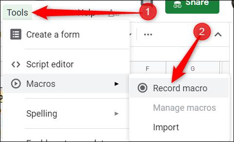 Click Tools > Macros > Record Macro