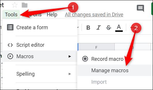 Para crear un atajo de teclado, haga clic en Herramientas> Macros> Administrar macros
